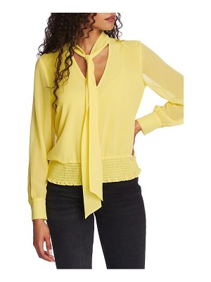 1.State tie neck smocked waist blouse