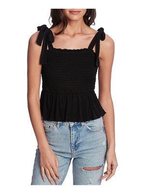 1.State tie shoulder smocked peplum top