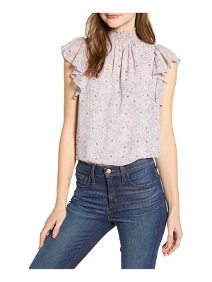 1.State wildflower bouquet smocked neck blouse