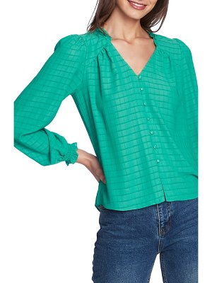 1.State windowpane button front blouse