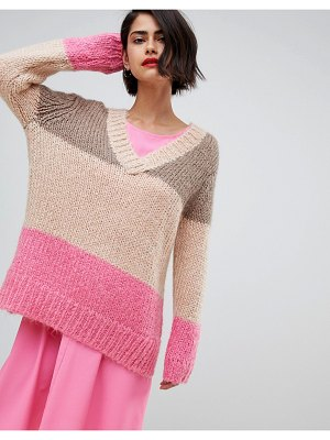2nd Day 2NDDAY chunky v-neck sweater in color block