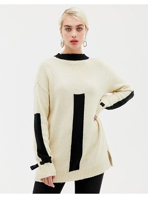 2nd Day 2ndday dillion cotton crew neck color block sweater