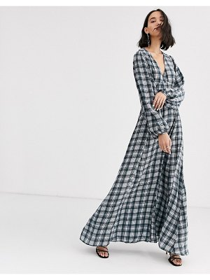 2nd Day collie lodge check maxi dress with button front-green