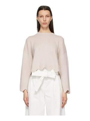 3.1 phillip lim beige cashmere and wool scalloped sweater