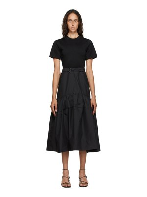 3.1 phillip lim black belted shirred t-shirt dress