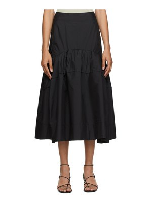 3.1 phillip lim black shirred midi skirt