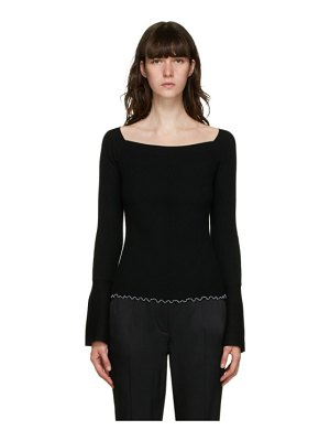 3.1 phillip lim black wool open neck sweater