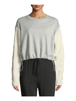 3.1 phillip lim French Terry Crewneck Sweatshirt with Cable-Knit Sleeves