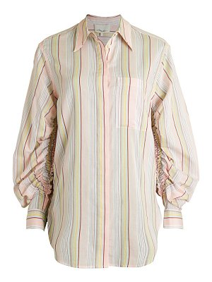 3.1 phillip lim Gathered-Sleeve Striped Shirt