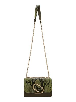 3.1 phillip lim green python alix chain clutch