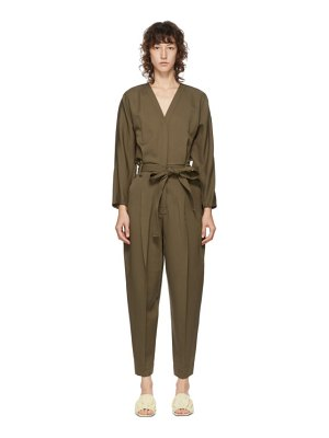 3.1 phillip lim green wool belted jumpsuit