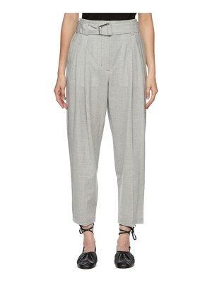 3.1 phillip lim grey wool chambray belted trousers