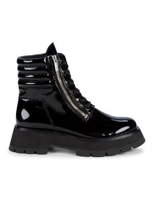 3.1 phillip lim kate zip lug-sole patent leather combat boots