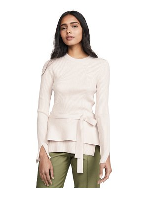 3.1 phillip lim long sleeve ribbed peplum top