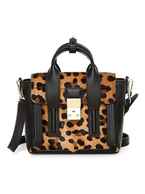 3.1 phillip lim mini pashli leopard-print calf hair leather satchel