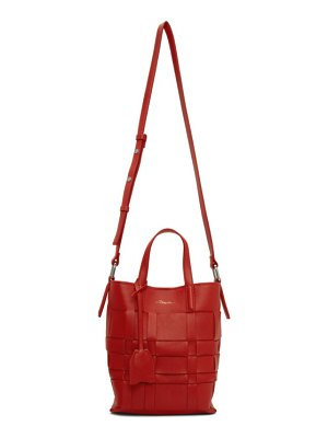 3.1 phillip lim red mini odita modern lattice bucket bag