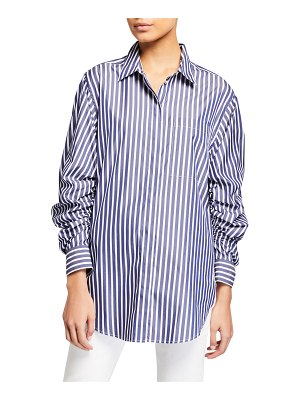 3.1 phillip lim Striped Button-Down Gathered Sleeve Shirt
