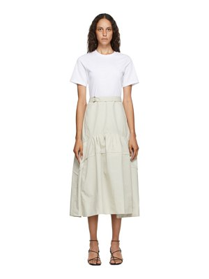 3.1 phillip lim white and beige belted shirred t-shirt dress