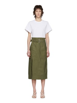 3.1 phillip lim white and green belted cargo t-shirt dress