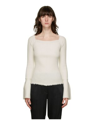 3.1 phillip lim white wool open neck sweater