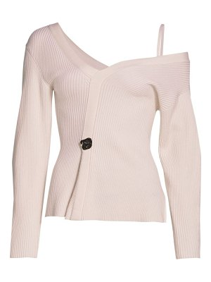 3.1 phillip lim wool ribbed off-the-shoulder pullover sweater