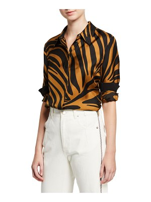 3.1 phillip lim Zebra Print Satin Button-Front Shirt