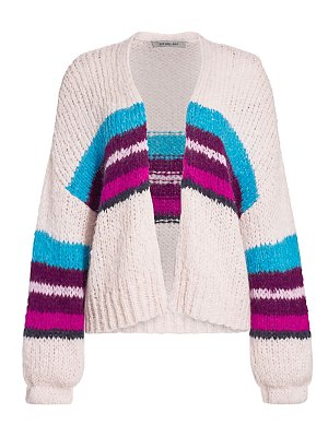 360Cashmere izabel stripe open-front wool-blend cardigan