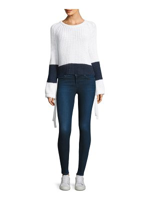 360Cashmere lilah stripe trim cashmere crop sweater