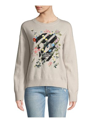 360Sweater Aji Floral-Embroidered Skull Crewneck Cashmere Pullover Sweater
