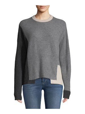 360Sweater Akima Crewneck Colorblocked Ribbed Cashmere Pullover Sweater