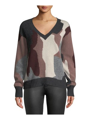 360Sweater Cayenne V-Neck Camo Skull Cashmere Sweater
