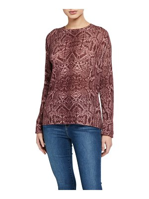 360Sweater Khloe Snake-Print Cashmere Sweater