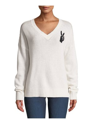 360Sweater Lea Wool-Cashmere Embroidered Peace-Sign V-Neck Sweater