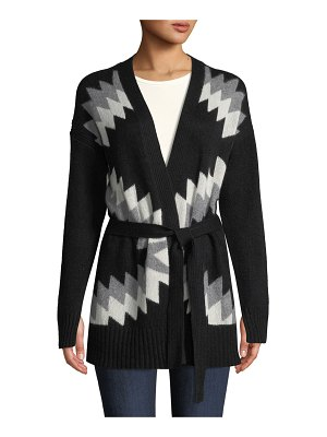 360Sweater Moxie Belted Zigzag & Skull Intarsia Wool-Cashmere Cardigan