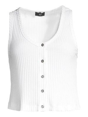 3x1 button front ribbed tank