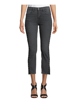 3x1 Corset Slim Cropped Jeans with Hook-and-Eye Trim
