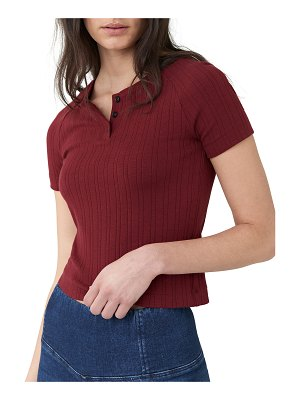 3x1 Cropped Short-Sleeve Slim Knit Henley Top