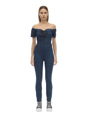 3x1 Lace-up stretch cotton denim jumpsuit