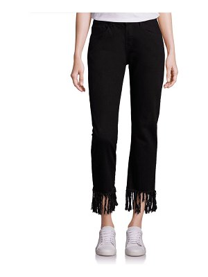 3x1 Straight Crop Fringe Jeans