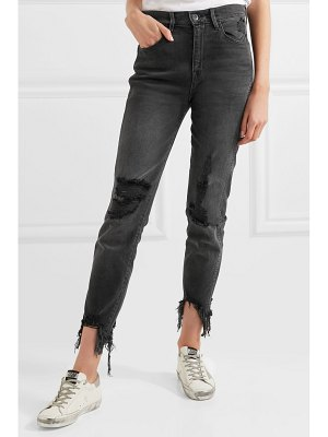 3x1 w3 straight authentic crop distressed high-rise straight-leg jeans
