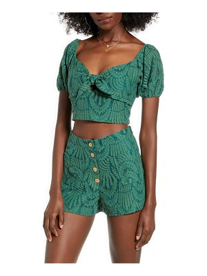 4SI3NNA mabel tie front embroidered lace crop top