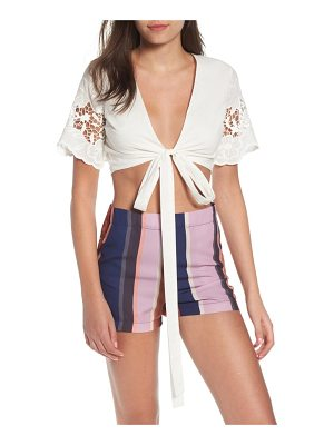4SI3NNA tie front embroidered top
