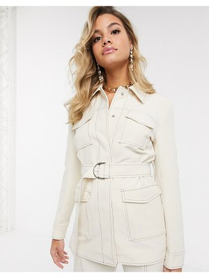 4th + Reckless belted suit blazer with contrast stitching in cream-white