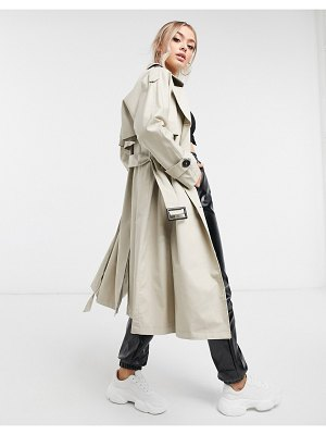 4th + Reckless belted trench coat in cream