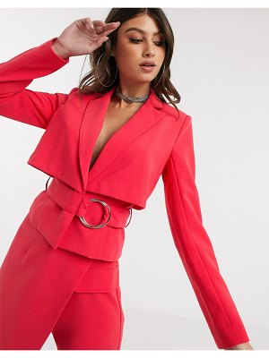 4th + Reckless cropped blazer with back detail in raspberry-pink