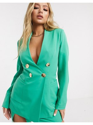 4th + Reckless double breasted blazer with gold button detail in green