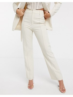 4th + Reckless suit pants with contrast stiching in cream-white