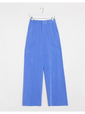 4th + Reckless wide leg tailored pants in blue