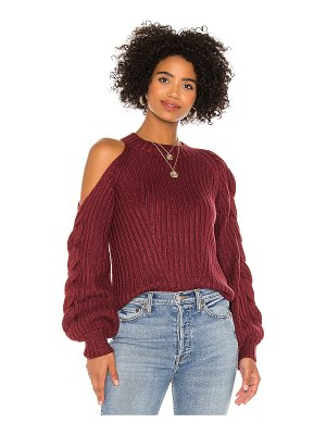 525 braided sleeve cold shoulder pullover