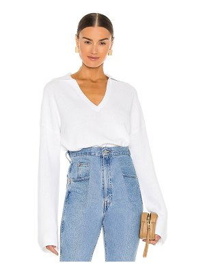 525 cropped collared v neck sweater